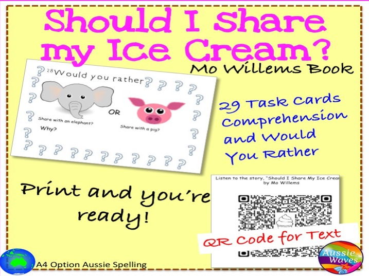 """Literacy Groups Activities Literature Unit based on """"Should I Share My Ice Cream?"""" by Mo Willems"""