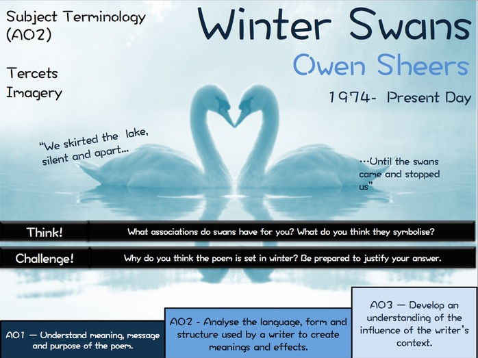 Winter Swans - Owen Sheers - Poetry Revision - Love and Relationships