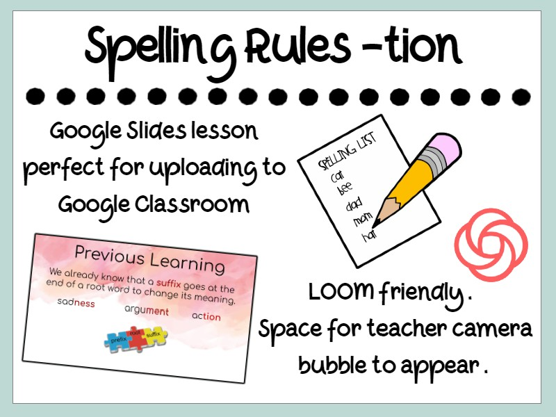 Spelling Rules Suffix -tion