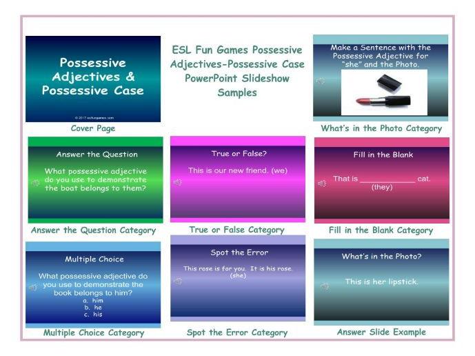 Possessive Adjectives-Possessive Case PowerPoint Slideshow