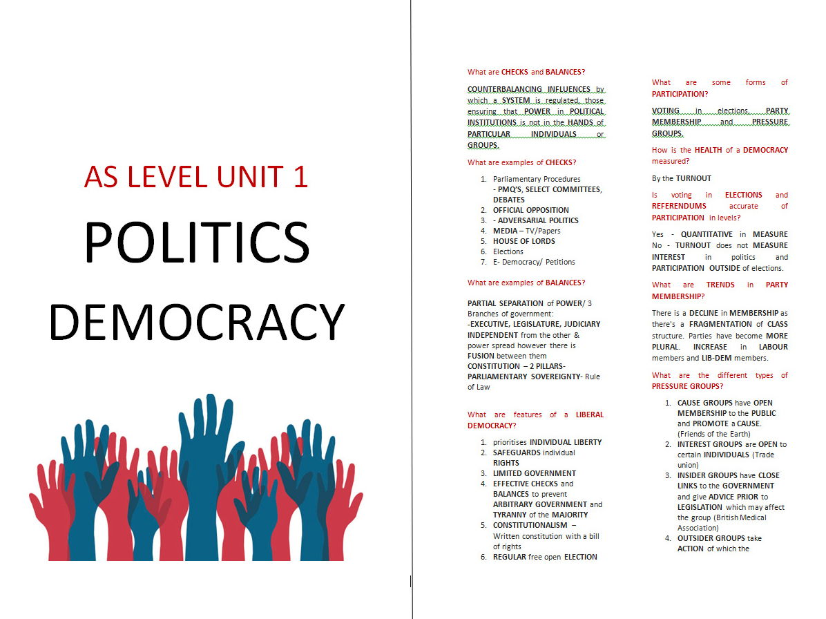 Exexcel AS Level Government & Politics Democracy Booklet