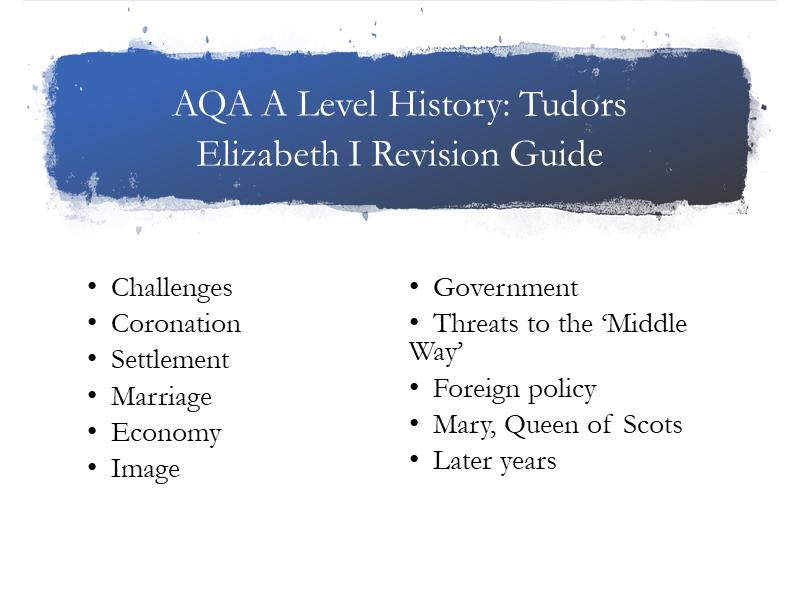 AQA A Level Tudors Guide Elizabeth I