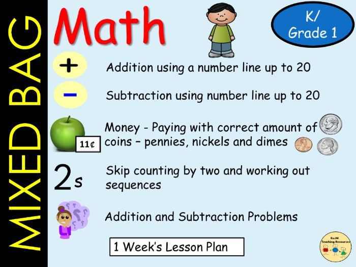 mixed bag math addition subtraction to 20 money skip count by 2 solve math problems 5 lessons. Black Bedroom Furniture Sets. Home Design Ideas