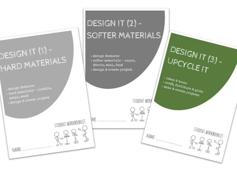 DESIGN IT bundle - x3 workbooklets HARD, SOFT MATERIALS + UPCYCLING