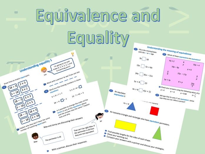 Bundle of resources on Equivalence and Equality. Would suit White Rose Maths planning.