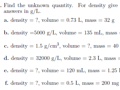 Density worksheet (with solutions)