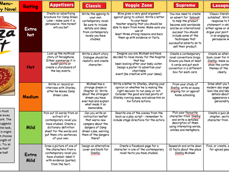 Contemporary Novel KS3 Takeaway Homework Menu