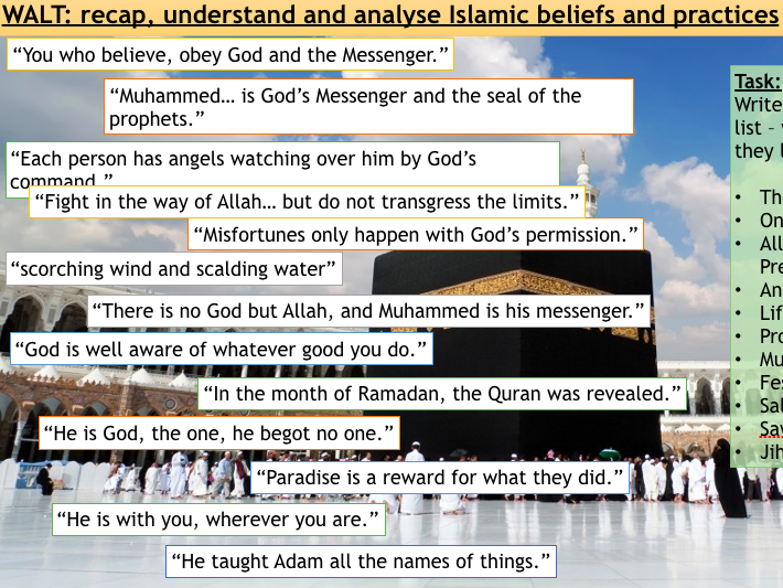 AQA Spec A Islam Revision Lesson