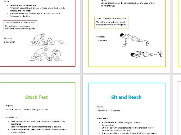 Components of Fitness Testing resource cards