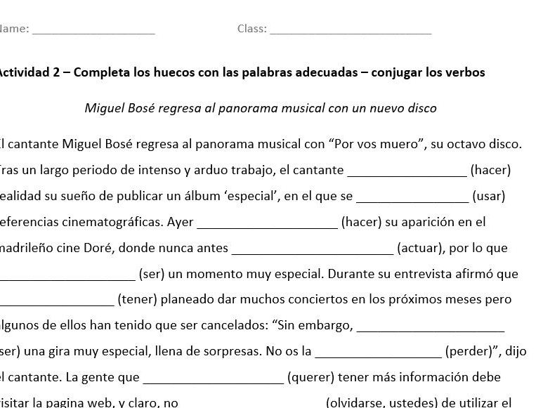 A level Spanish Grammar Exam and Answers