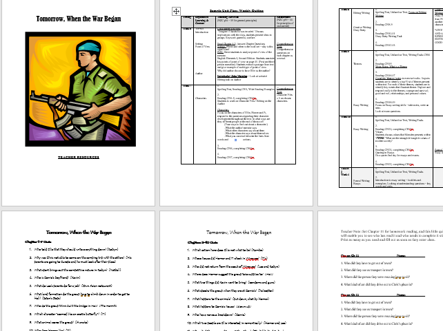 Tomorrow When the War Began  -  Complete Junior Secondary Text Unit, Booklet & Teacher Resources