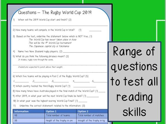 Reading Activity - Rugby World Cup 2019