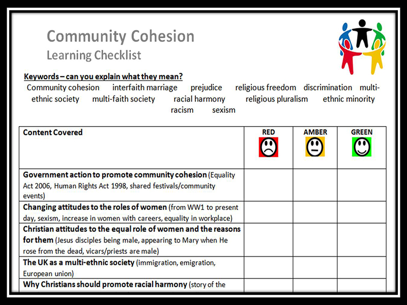 Learning Checklist: Community Cohesion