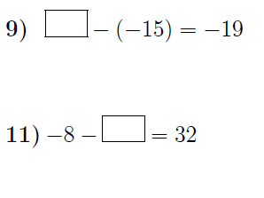 Subtracting integers: missing numbers worksheets (with solutions)