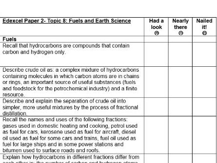 Edexcel 9-1 Chemistry Topic 8 Fuels and Earth Science