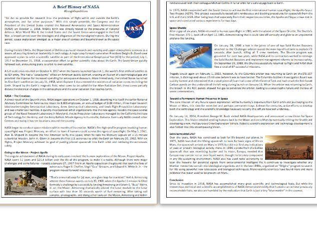 A Brief History of NASA - Reading Comprehension Text #GoogleExpeditions