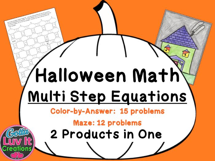 Solving Equations Halloween Fall Multi Step Equations Bundle Maze & Color by Number Coloring Page