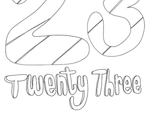 Twenty Three: Numbers: Colouring Page