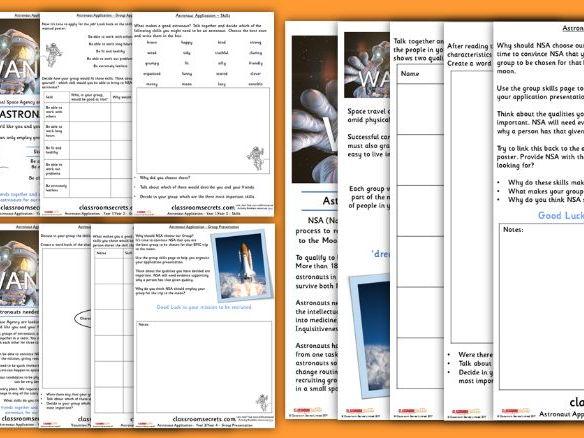 Astronaut Application Transition Group Activity KS1 and KS2