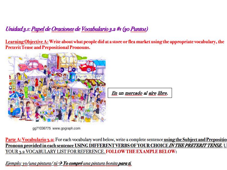 Shopping Vocabulary Worksheet (Spanish)
