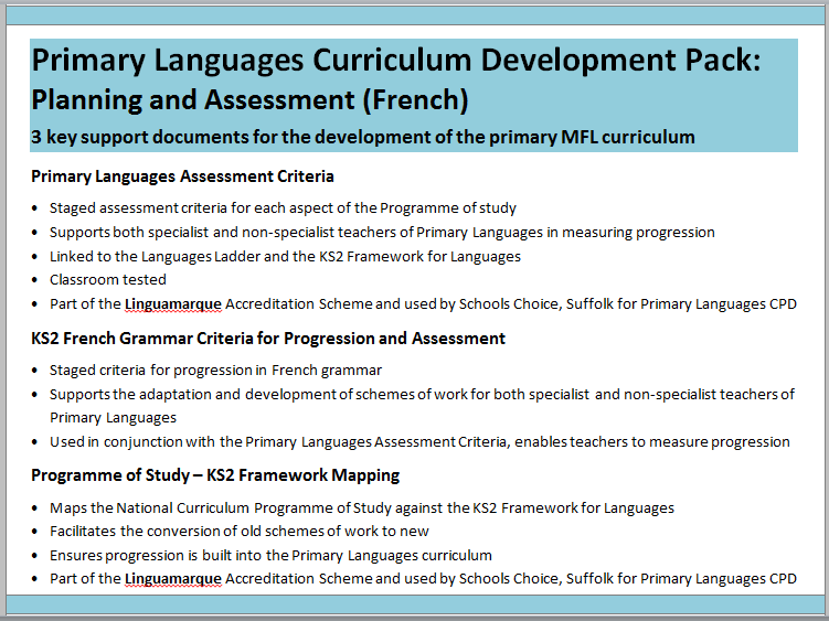 Primary Languages Curriculum Development Pack