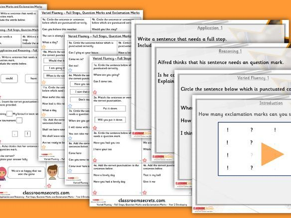 Grammar Year 2 Full Stops, Question Marks and Exclamation Marks Autumn Block 1 Step 2 Lesson Pack