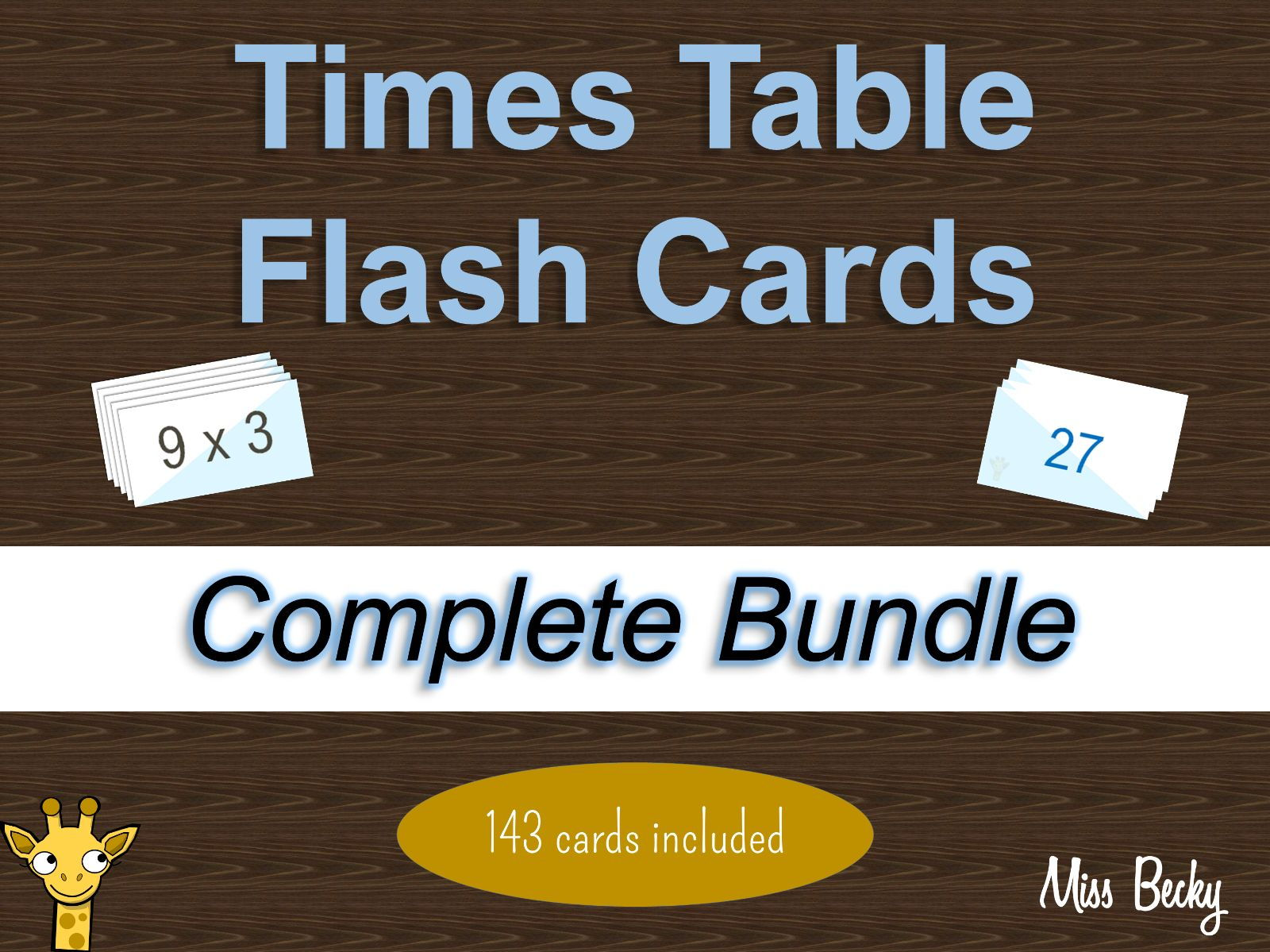 Times Table Flash Cards - Complete Bundle