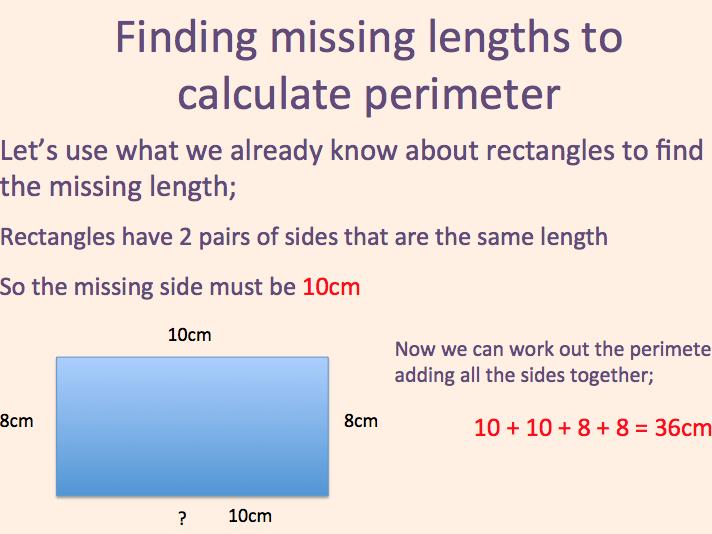 Finding missing lengths for perimeter