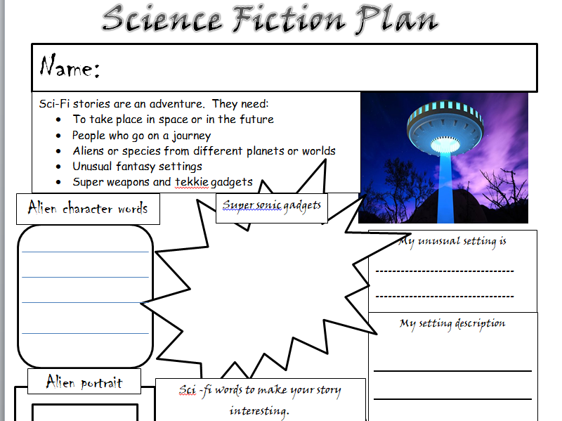 KS1 & 2 Science Fiction story planning template. A writing Science Fiction stories and spaces for pu