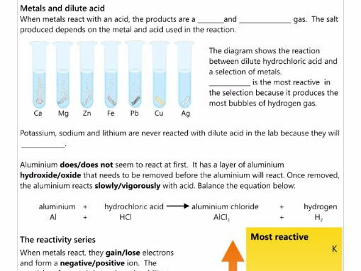 GCSE AQA C5.1 The reactivity series workbook  NEW SPEC