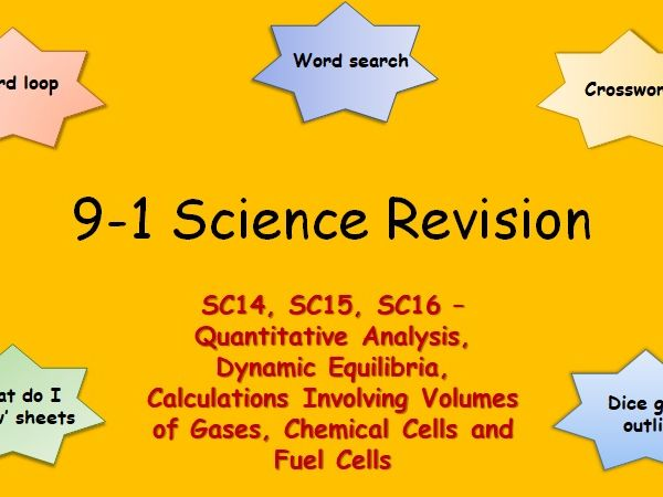 Edexcel SC14, SC15, SC16 Quantitative Analysis, Dynamic equilibria, Chemical Cells Revision pack 9-1