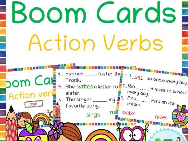 Action verb Boom cards helpful for distance learning