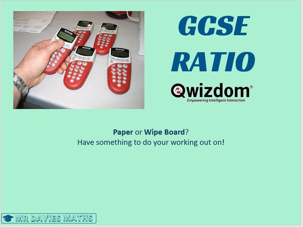 RATIO Qwizdom using Bar Box Method Quiz Interactive