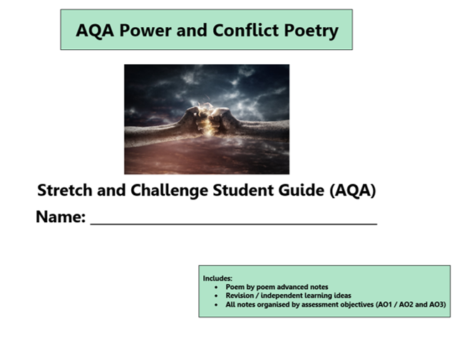 GCSE 9-1 AQA Power and Conflict Poetry Scheme of Work / Learning