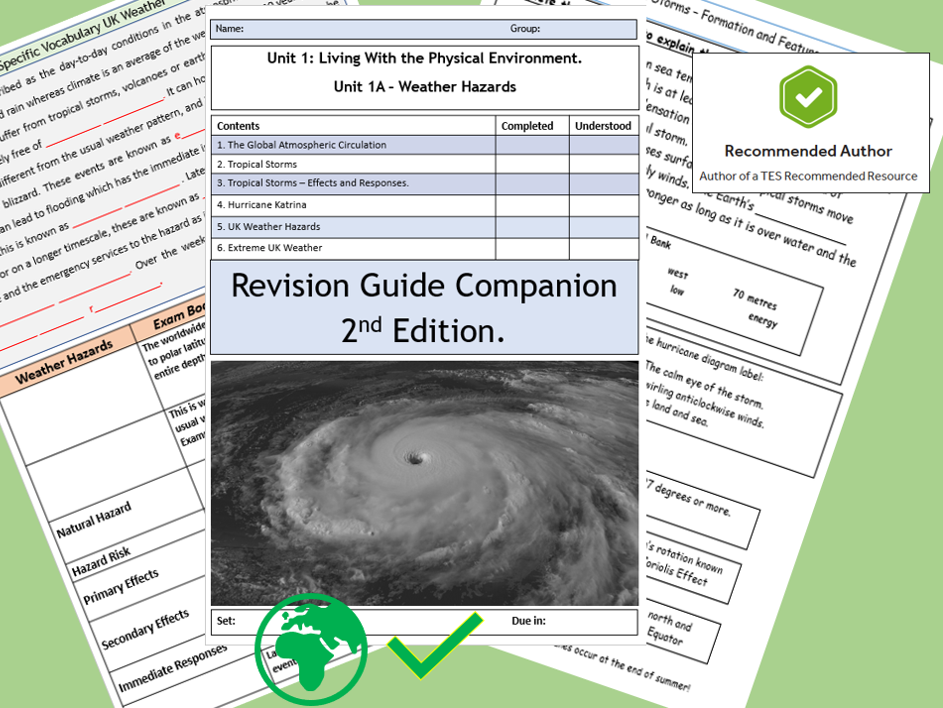 AQA 9-1 GCSE Weather Hazards Revision Guide Flipped Learning Booklet 2nd Edition.