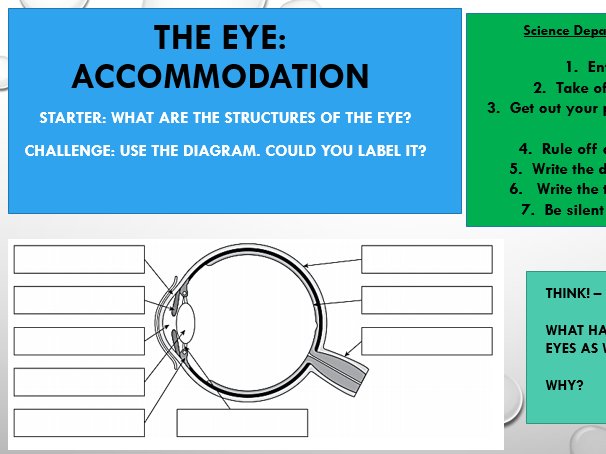 KS4 The Eye (Accommodation) AQA Specification - Triple Science [Including Lesson Plan]