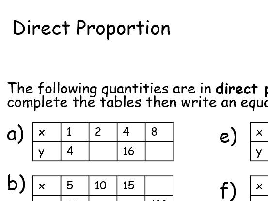 Direct Proportion Worksheet