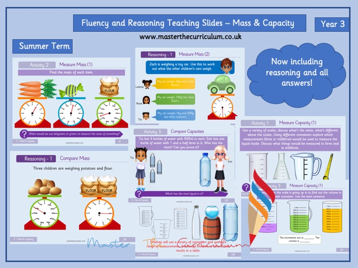 Year 3 - Editable Mass and Capacity Teaching Slides - White Rose Style