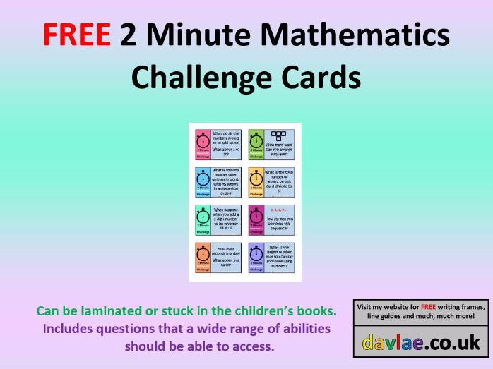 FREE 2 Minute Mathematics Challenge Cards
