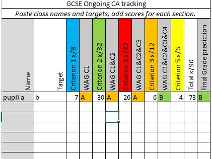 GCSE D&T tracking sheet