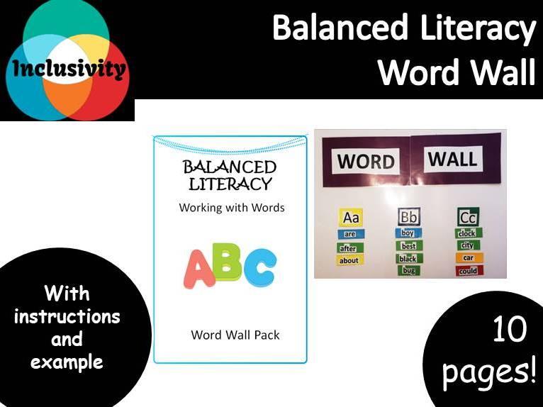 Word Wall, working with words, balanced literacy - Inclusivity