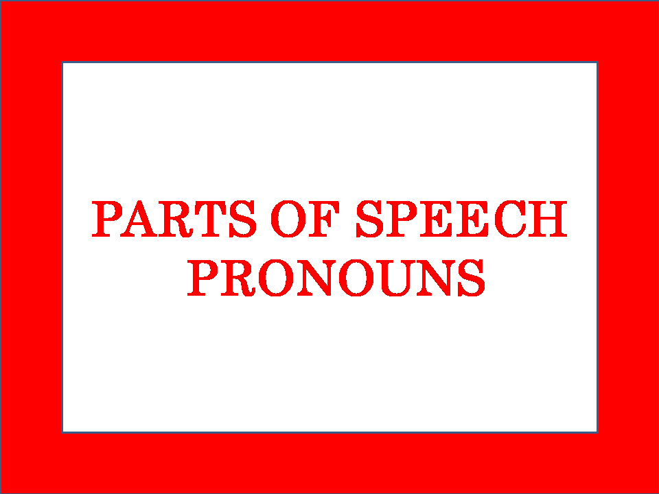 Parts of Speech Pronouns