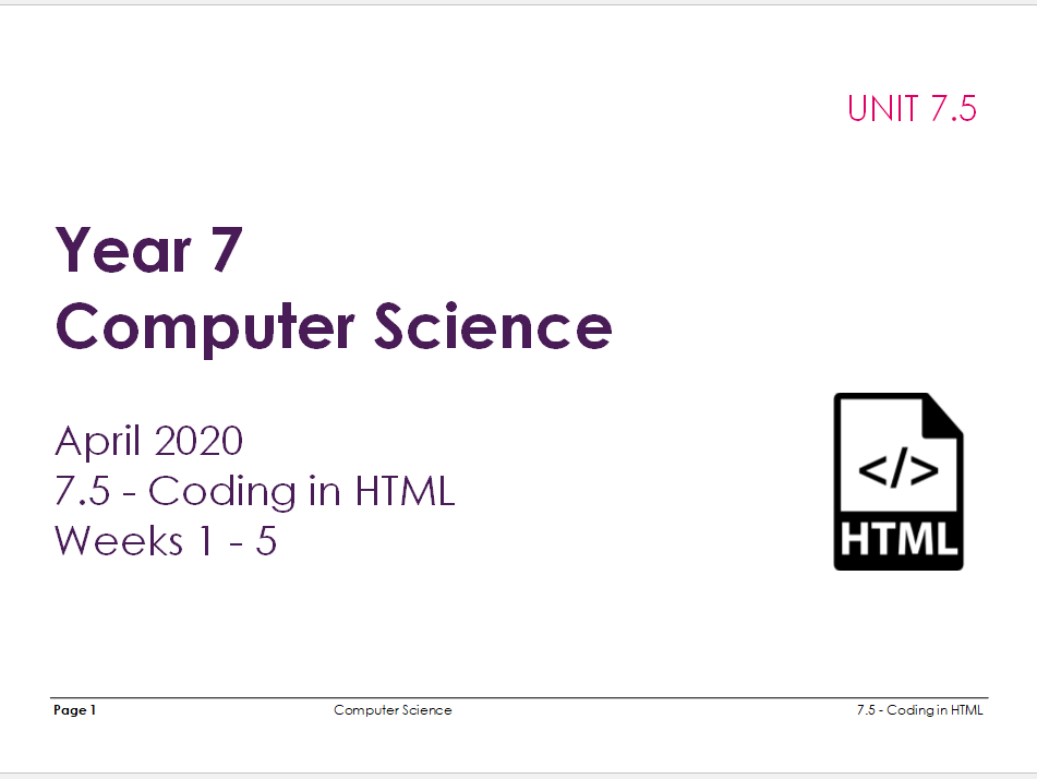 Complete Computer Science KS3 SOW: Coding in HTML