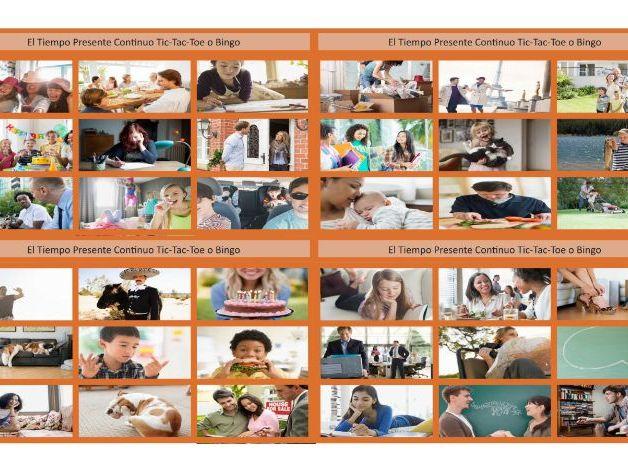 Present Continuous Tense Spanish Legal Size Photo Tic-Tac-Toe-Bingo Game