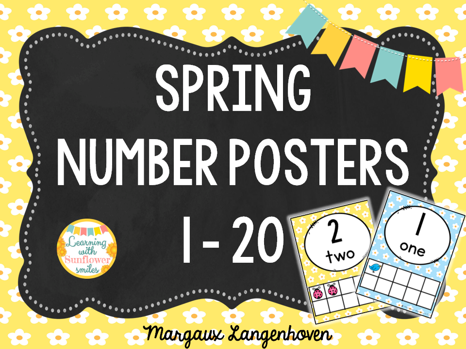 Number Posters 1 - 20 Spring Theme