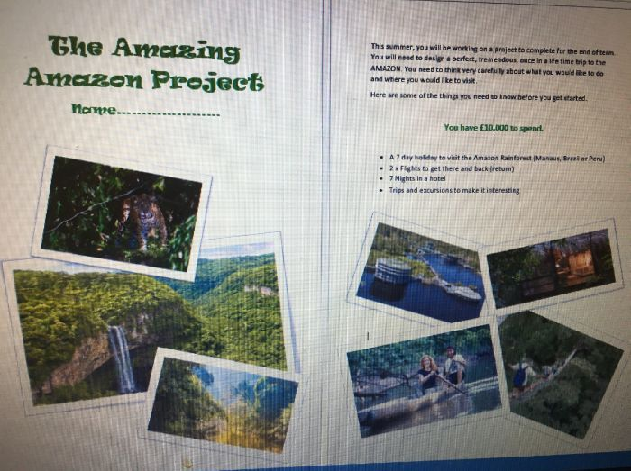 Amazing Amazon Project - Design a dream trip to the amazon.