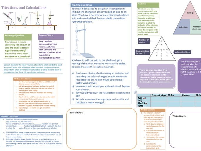 2016 AQA GCSE chemistry - Unit 4 - Lesson 6 and 7 Titrations and Strong and Weak Acids