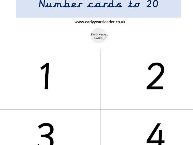 Number cards to 20