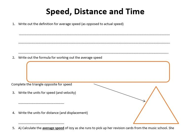 Gcse Physics Worksheet Speed Distance Time Definition Formula