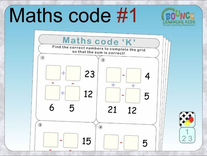 Maths code 1: Number puzzle distance learning worksheets